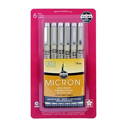 Sakura Pigma Micron - Juego de bolígrafos de Tinta, Pigma Micron, Negro, 03 1CT, 1