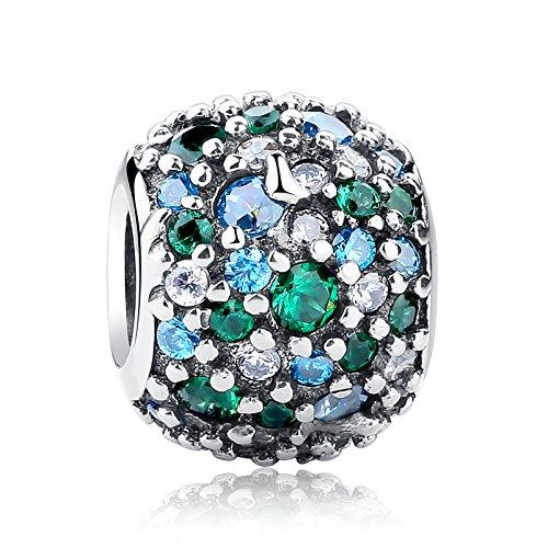 NINGAN Pave Lichter Charme, bunten CZ 925 Sterling Silber Charms für Pandora und andere europäische Charm-Armbänder (Grün)