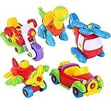 WAQB XL Auto Spielzeug zum Zusammenbauen, Dinosaurier, LKW, Motorrad - STEM-Baukasten - Stunden voller Spaß - Engineering-Kit für Jungen, Mädchen, Kleinkinder