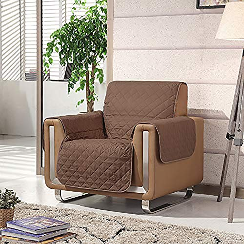 HomeZone Luxury Brown Quilted Padded Sofa Couch Seat Armchair Cover   Dog & Pet Protector Cover Moisture Resistant Throw Protect Furniture Animal Fur Hair Child Proof Easy Fit Keep Clean