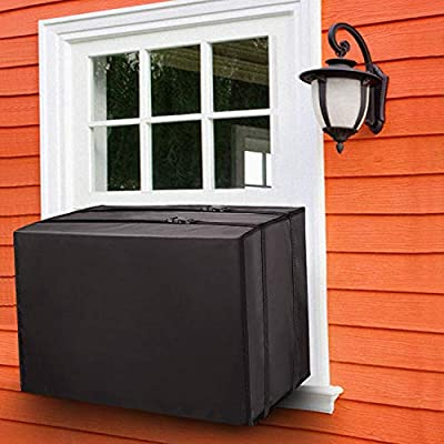 Fujieco Outdoor Air Conditioner Cover for Window Units, Dust-Proof&Waterproof Window AC Cover for Outside,Heavy Duty Defender, Bottom Covered with Straps, Small Black 21 x 16 x 16 inches (L x H x D)