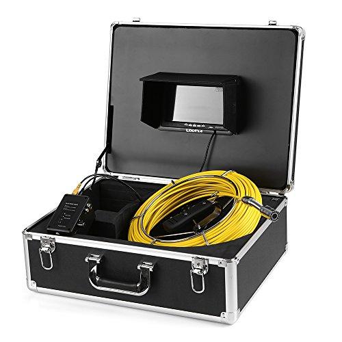 """Lixada Cámara Submarina Impermeable Buscador de Peces 7""""LCD Monitor 12 Leds Vision Nocturna con 50M Cable y Rueda de Guía"""