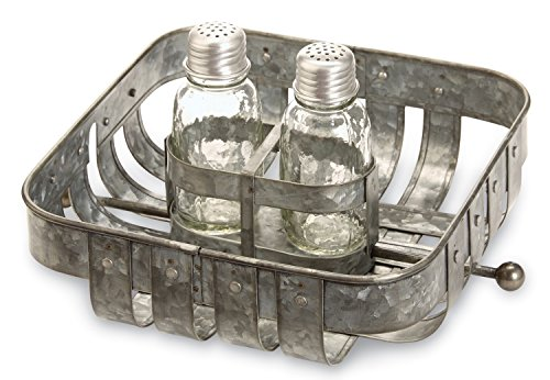 Mud Pie Galvanized Tin Strapped Napkin Basket and Salt or Pepper Shakers Set of 4