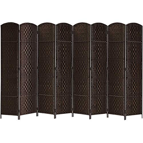 """Rose Home Fashion RHF 6 ft.Tall-15.7"""" Wide Diamond Weave Fiber 8 Panels Room Divider/8 Panels Screen Folding Privacy Partition Wall Room Divider,Freestanding 8 Panel, Dark Coffee"""