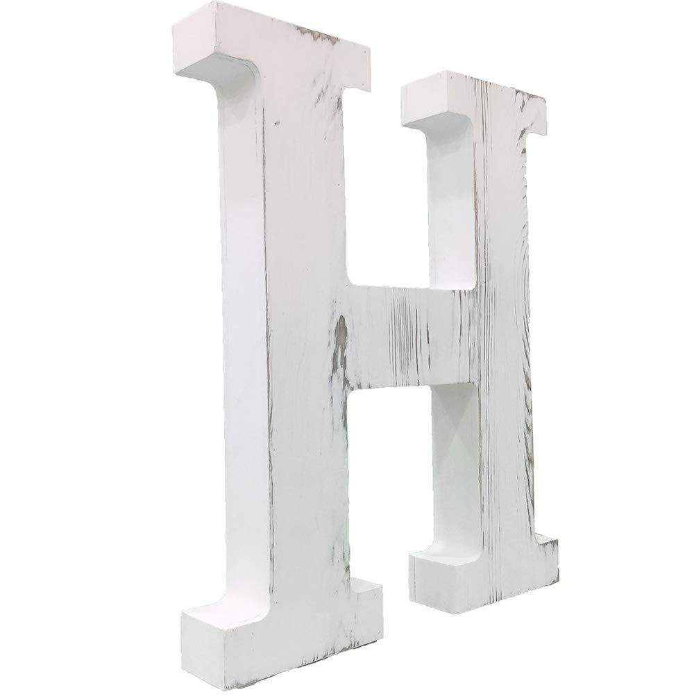 A Extra Large Wood Decor Letters Wood Distressed White Letters DIY Block Words Sign Alphabet Free Standing Hanging for Home Bedroom Office Wedding Party