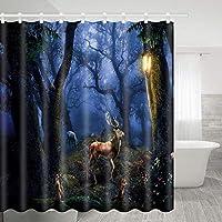 光を探している神秘的な森エルク浴室の窓の装飾のための生地のホックが付いているポリエステル防水シャワー・カーテン60X72in
