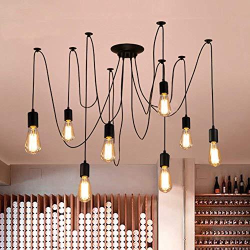 Oursun Kronleuchter Industrie Pendelleuchte Vintage Retro Spinne Lampe Hängend Deckenleuchte Hängelampe Pendellampe für Schlafzimmer Wohnzimmer Esszimmer (8 lights)