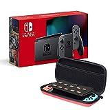 Nintendo Switch Konsole - Grau (2019 Edition) + AmazonBasics Tragetasche (Rot)