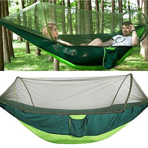 BIYLL Hamac de Camping avec Moustiquaire 2 Personnes 260 * 140cm Charge Max.200 kg en Nylon Portable Camping Hammock pour Camping Jardin Plage Excursion Outdoor Jungle (Vert)