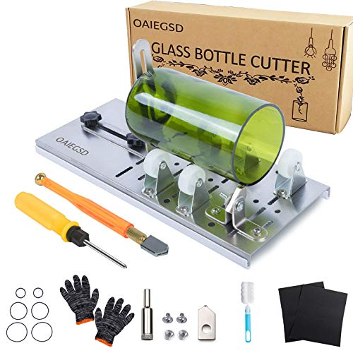 OAIEGSD Glass Bottle Cutter, Glass Cutter for Bottles for Cutting Wine, Beer, Mason Jars, Whiskey, Round, Square and Oval Bottles, Bottle Cutter & Glass Cutter Bundle for DIY Project Crafts