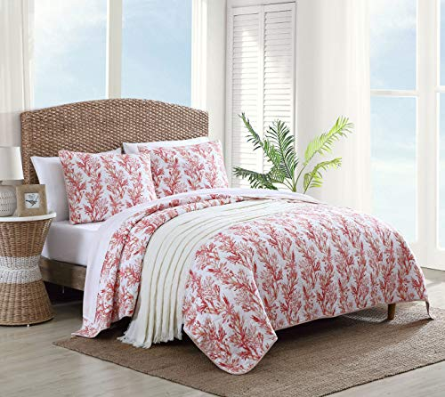 Tommy Bahama | Sunset Reef Collection | Comforter Set Cotton Bedding, Reversible Design and Pre-Washed for Added Softness, Full/Queen, Coral