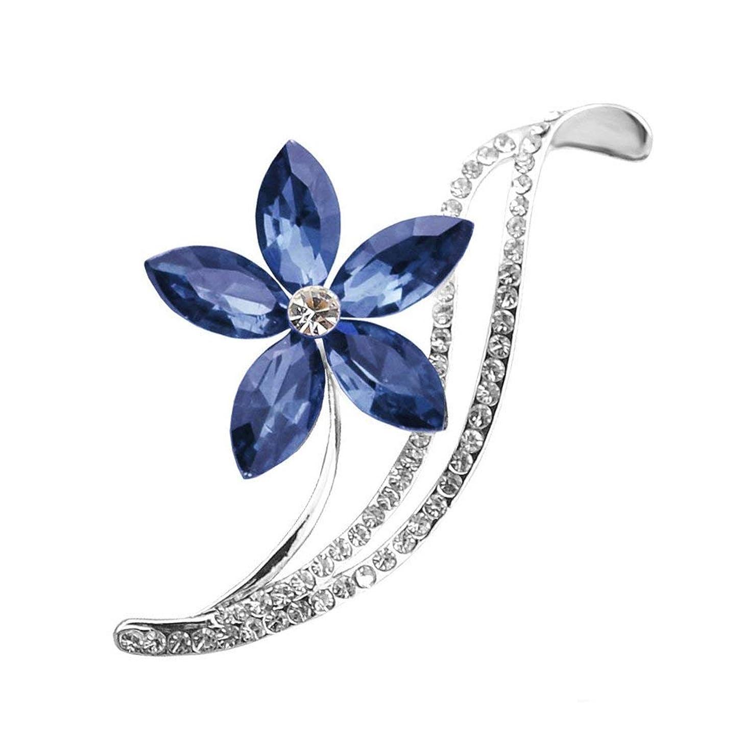 潜在的な突然組Honel ブローチ 胸飾り 五葉花 クリスタル レディース バッジ 人気アクセサリー(ブルー)