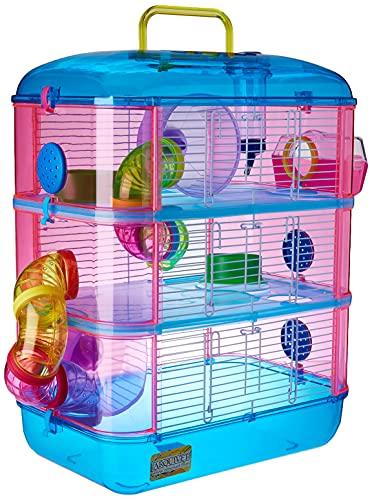 Arquivet Käfig für kleine Nagetiere Gran Canaria - Haus für Hamster, Mäuse, kleine Tiere, robuster Kunststoff, DREI Etagen, 40 x 26 x 53 cm
