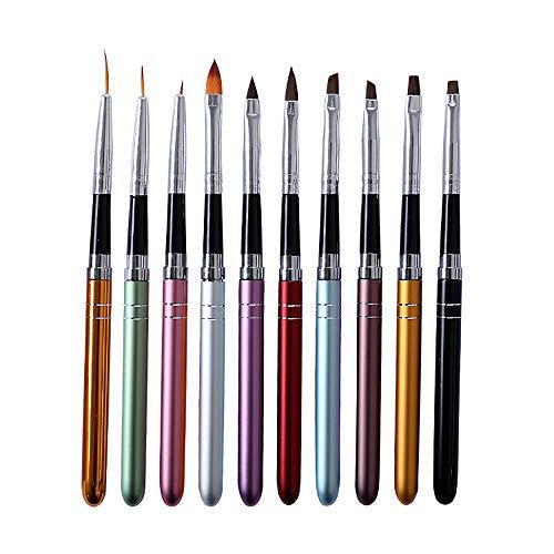 10-teilig Nagel Pinsel Set, Mwoot Nagel Kunst Malerei Zeichnung Pinsel für UV-Gel- und Acrylfingernägel, Nail art Brush Nagelzubehör Nageldesign Modellage Pediküre Maniküre