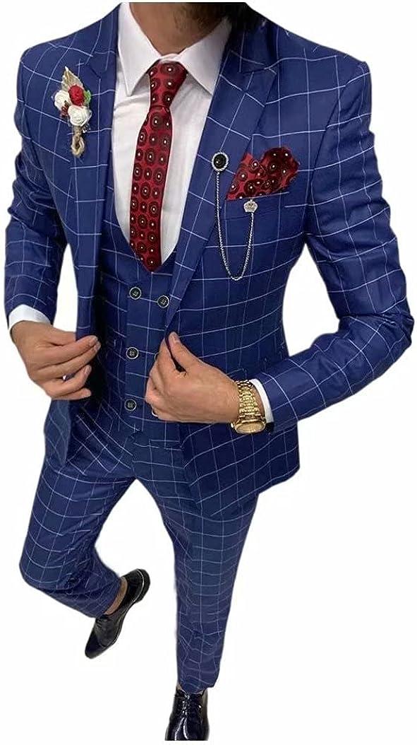 Men 3 Pieces Wedding Plaid Suits Groom Tuxedos Business Blazer Pants (Coat+Pants+Vest)