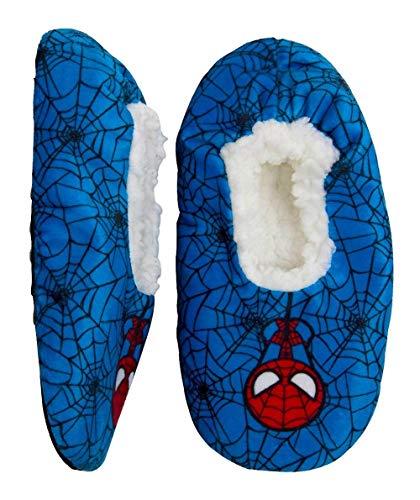Boys Spiderman Slipper Fuzzy Babba Cozy Warm Slip on (4T-5 Shoe Size 8-13) Blue