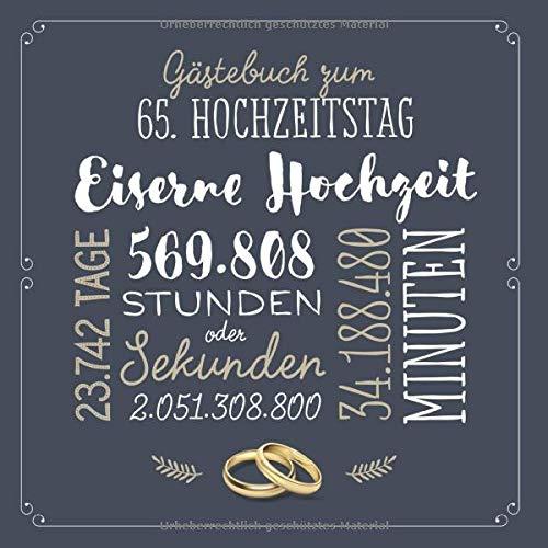 Gästebuch zum 65. Hochzeitstag ~ Eiserne Hochzeit: Deko & Geschenk zur Feier vom Hochzeitstag nach...