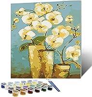NYIXIA 数字油絵 フレーム付き 、数字キット塗り絵 手塗り DIY絵、キャンバス上の蝶の花、初心者 子供と大人のためのキャンバス油絵キット、数字キットによるペイント - 40*50cm