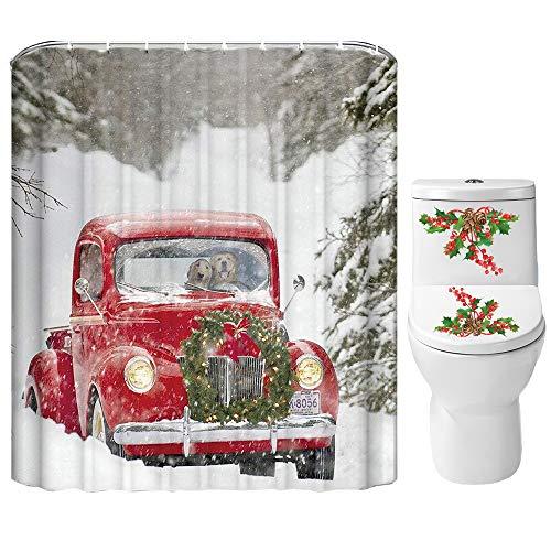 Weihnachts-Duschvorhang-Set für Badezimmer, Weihnachtsmotiv, rotes LKW, Hundepaar, Kranz, Baum, Schneeflocken,...