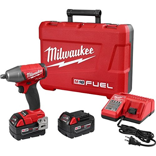 """Milwaukee 2755B-22 M18 FUEL 1/2"""" Compact Impact Wrench w/ Friction Ring Kit, w/ 5.0 AH Battery. Torque = 220 Ft-lbs,Dark Gray"""