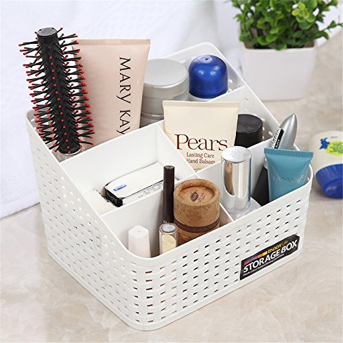 Vanker - Boîte de rangement en plastique pour pinceaux de maquillage ou pour bureau, Plastique, blanc, Taille L