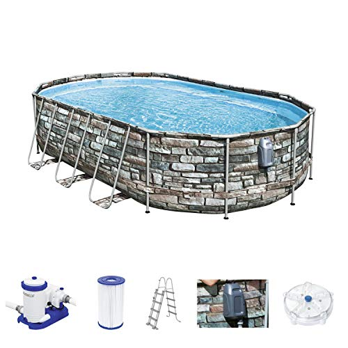 Comfort Jet Frame Pool Komplett-Set, oval, mit Filterpumpe & Sicherheitsleiter 610 x 366 x 122 cm