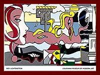 ポスター ロイ リキテンスタイン Figures in Landscape 額装品 ウッドベーシックフレーム(レッド)