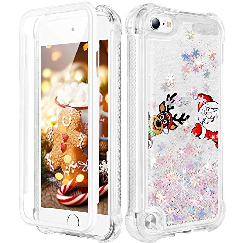 Caka Christmas Case for iPod Touch 5th 6th 7th Generation, iPod Touch 5 6 7 Christmas Case Glitter for Girls Full Body Case with Screen Protector Bling Case for iPod Touch 5 6 7-Santa Claus