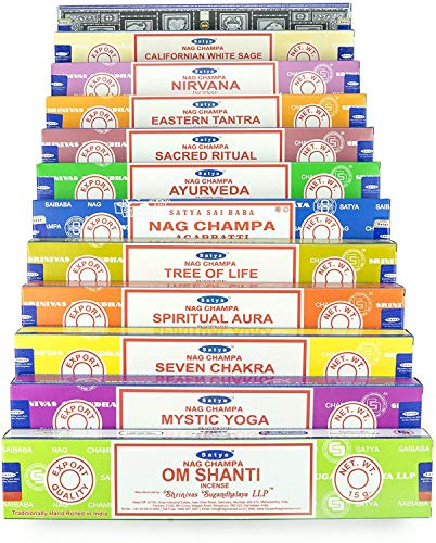 Indian Arts Satya Nag Champa Om Shanti incenso impostato AA 12x15 grammo includes Nag Champa, Super Hit, Om Shanti