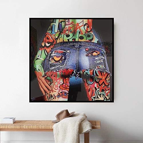 BGFDV Pop Graffiti Art Hermoso Butt Lienzo Pintura Color Cartel Mural Imagen Sala de Estar Dormitorio decoración Pintura