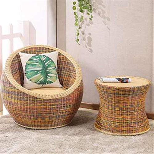 QQXX outdoor Wicker Chair driedelige combinatie, casual eettafel en stoelen, balkon, woonkamer/vrije tijd / tuin rotan ChairHome Furniture (maat: C) 3 3
