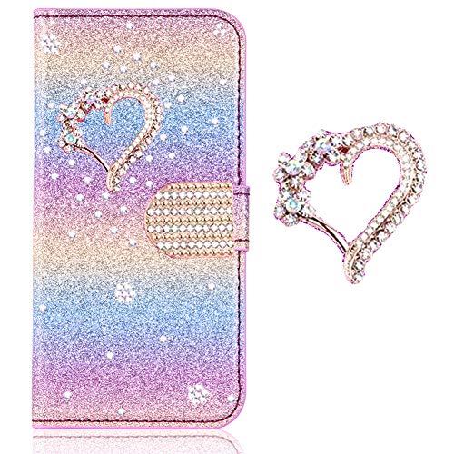 Karteneinschub Magnetverschluss für Samsung S7 Edge,Flip Bling Glitter Glitzer Diamond Musterg Slim Retro Leder Bookstyle Stand Funktion Wallet