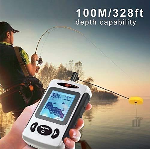 ポータブルソナー有線深さ100メートル魚群探知機防水調節可能液晶画面アラーム付き[LUCKYFF718]