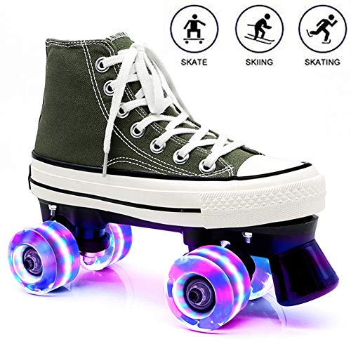HJHY@ Roller Skates for Men and Women, Double Row Quad Roller Skates Beginner Sports Outdoors Casual Fitness for Adult Canvas Breathable Roller Skates Green-36