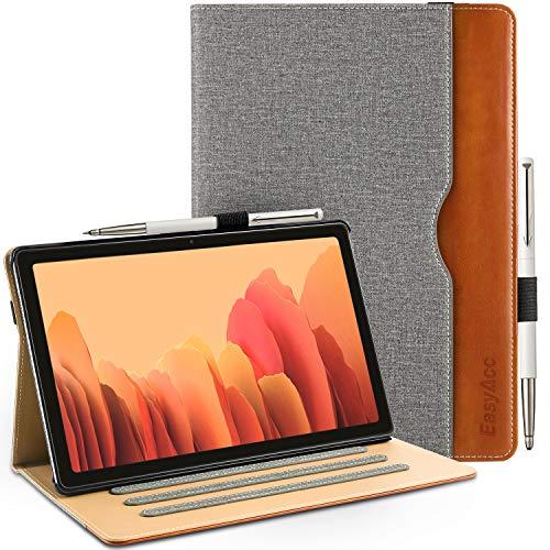 EasyAcc Funda compatible con Samsung Galaxy Tab A7 10.4 2020, piel sintética, funda de negocios con soporte elástico para bolígrafo, funda protectora de piel para SM-T500 T505 T507, gris