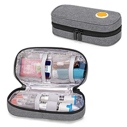 CURMIO geïsoleerde Epipen-draagtas voor volwassenen en kinderen, draagbare medicijnbenodigdhedenzak voor 2 EpiPen, Auvi-Q, injectiespuiten, flesjes, neusspray, thuis en op reis, grijs