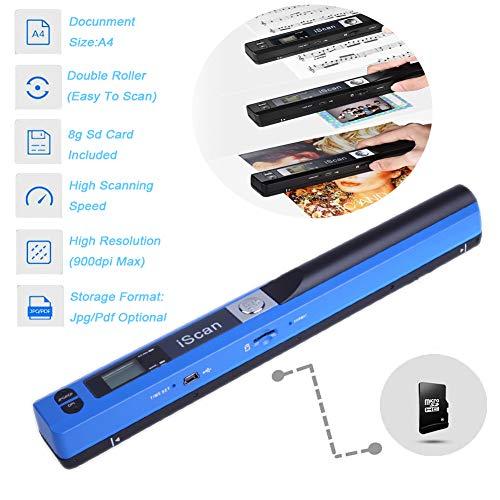 Lin EscáNer PortáTil de Documentos EscáNer PortáTil USB 900dpi EscáNer PortáTil de Fotos en Color Escaneo A4 (EscáNer + Tarjeta Gtf),Azul