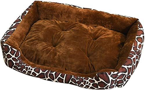 Camas de lujo para mascotas extraíbles y lavables, diseño independiente, alfombrilla de arena para mascotas y gatos, apto para mascotas pequeñas y medianas (color: estampado de leopardo, tamaño: XL)