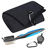 Mile High Life Microfiber Waffle Pattern Tri-fold Golf Towel | Brush Tool Kit with Club Groove Cleaner, Retractable Extension Cord and Clip (Black Towel+Blue Brush)