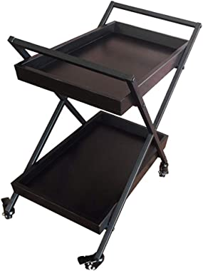 HORV Rolling Bar Cart, Utility Cart, Serving Cart with 2 Shelves, Tea/Wine Storage Bar Cart with 4 Wheels and Wine Glass Hold