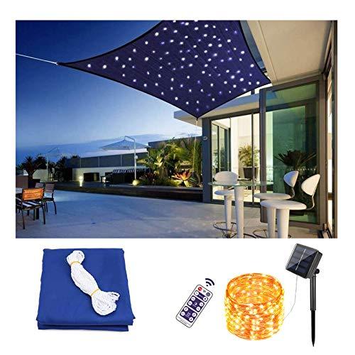 Outdoor Rectangle Sun Shade Sail Canopy With led light, Patio Shade Cloth Cover waterproof Sunshade Fabric Awning Shelter for Pergola Backyard Garden Carport Activities,Blue,3.6X3.6m/11.8'X11.8'
