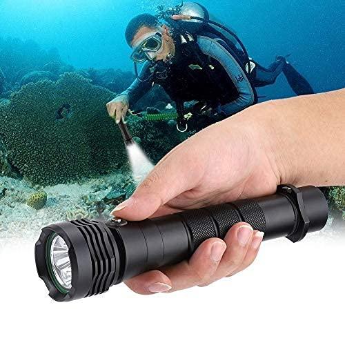 Ymiko Linterna de Buceo Antorcha 5000 lúmenes Luces subacuáticas Impermeables 80M Linterna de Buceo con 3 Modos de iluminación Luces submarinas Linterna de Camping al Aire Libre