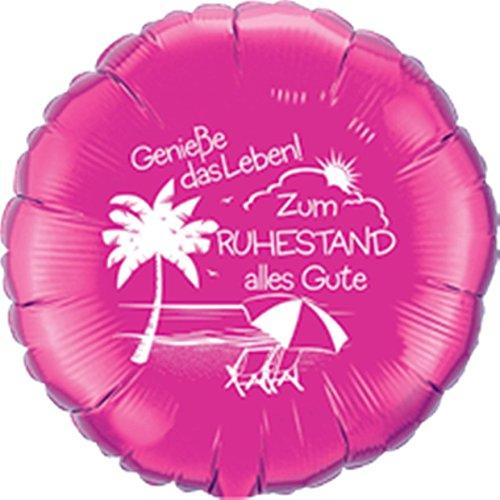 DeCoArt... Folienballon Rente Genieße das Leben! Zum Ruhestand alles Gute rund pink ca. 45 cm (Ballongas geeignet) und 10 Latexballons klein ca. 12,5 cm perl mix zur Fertigung einer Ballonkugel als Ballongewicht Farben: sortiert mix (mit DeCoArt...Anleitung zur Fertigung)