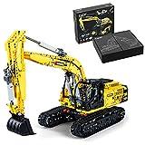 TRCS Excavadora de vehículos de construcción, escala 1:20, 1702 unidades, excavadora oruga CADA C61082W, camión, juguete con bloques de sujeción, compatible con Lego