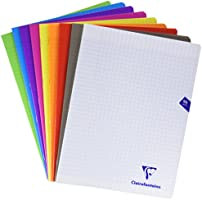 ClaireFontaine – Ref 293311AMZ – Polypropylene Squared Paper Notebook Pack of 9 96 Pages - Grands Carreaux Mixed Colours
