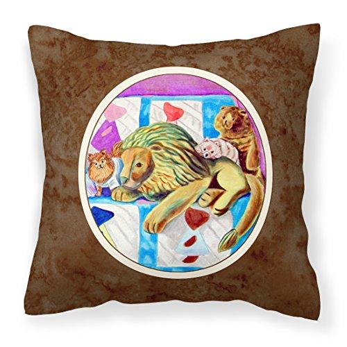 Caroline Tesoros del 7103pw1414Pomerania en el sofá con Toy Tiger Almohada, 14'x 14', Multicolor