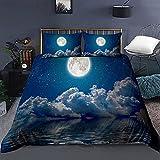 Juego de Ropa de Cama Night Sky Juegos de Funda nórdica 3D Ropa de Cama Twin Queen King Size para niños Dormitorio Patrón de Luna Ropa de Cama 135x200cm 1