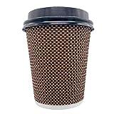 Erreke – Vasos de Café, Reutilizables, Triple Pared con Tapa, 240 ml 8 oz, Vasos de Papel, 200 Unidades.