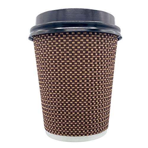 Erreke – Vasos de Café, Reutilizables, Triple Pared con Tapa, 240 ml 8 oz, Vasos de Papel, 50 Unidades