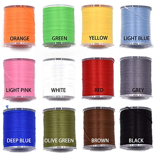 12 Colors Set 200 Deniers Elastic Fly Tying Thread Perfect for Dry Wet Flies Buzzers Streamers Fly Tying Materials (12 Colors 200D Set)